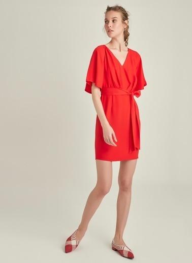 Ng Style Beli Bağlamalı Elbise Kırmızı